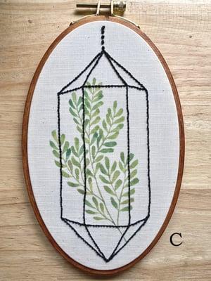 Image of Oval Embroideries - Geometric Glass Terrarium