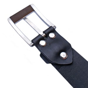 Titanium Buckle 33mm | Handcrafted bridle leather strap | BLACK