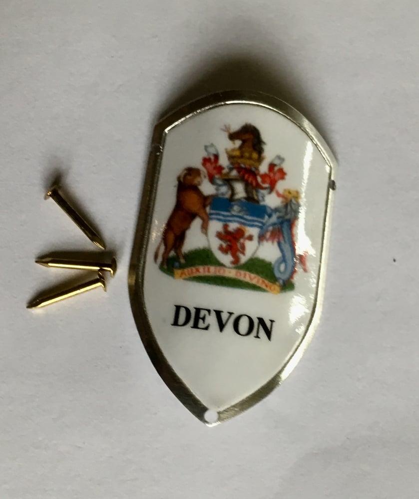 Image of Devon Coat of Arms Walking Stick Badge
