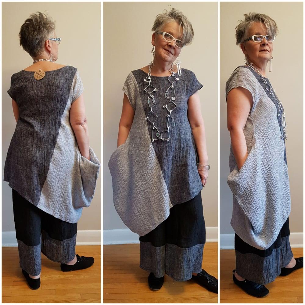 Image of asymmetrical linen dress/tunic...grey