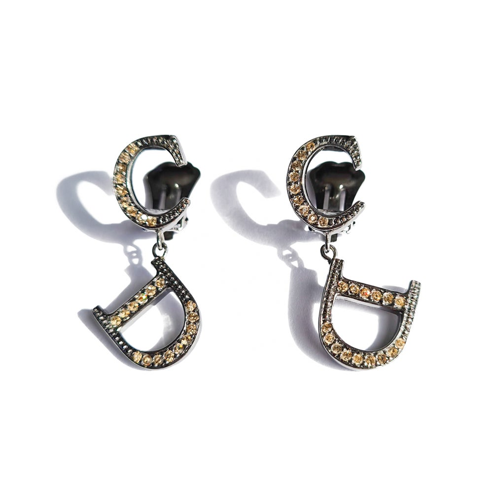 Image of Dior Silver & Crystal Logo Earrings