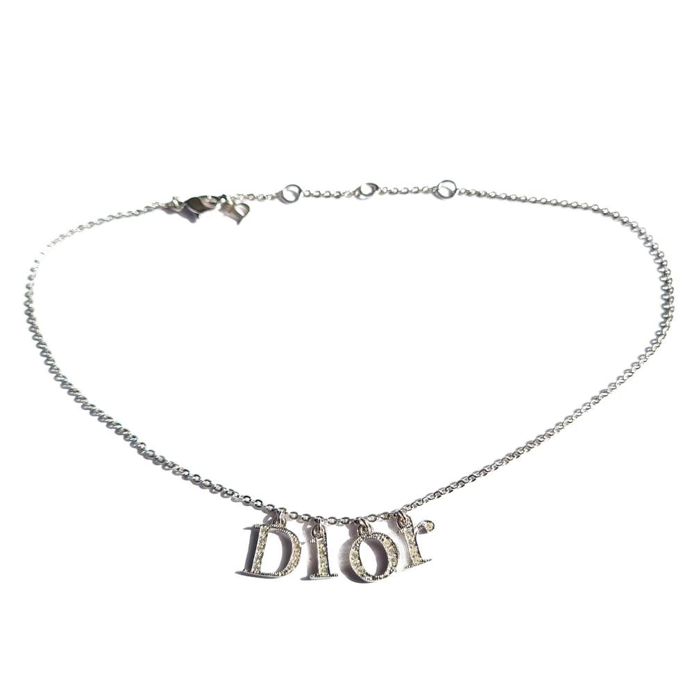 Image of Dior Silver & Crystal Logo Choker