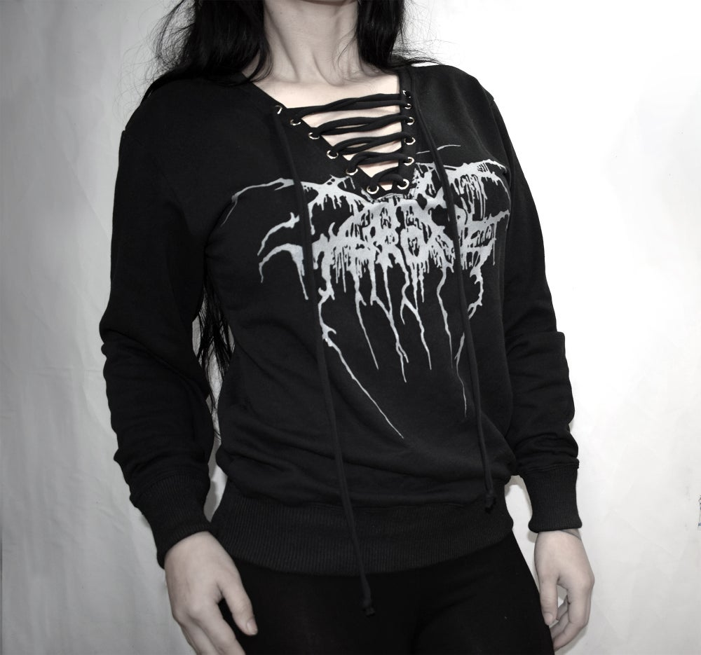 Darkthrone Comfy sweatshirt V lace up neck  FREE SHIPPING