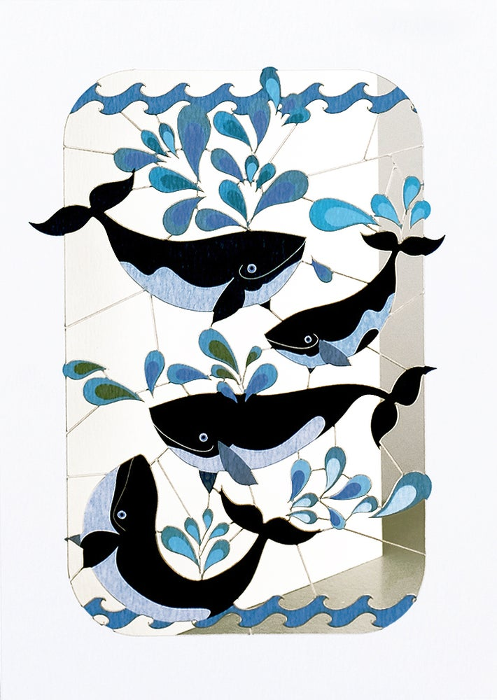 Image of Whales Paper Cut Card