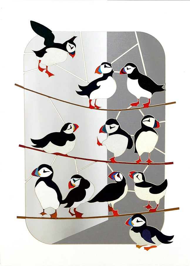 Image of Puffins Paper Cut Card