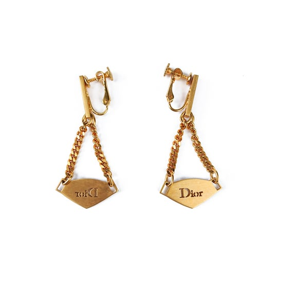 Image of Dior Gold Logo Plate Earrings