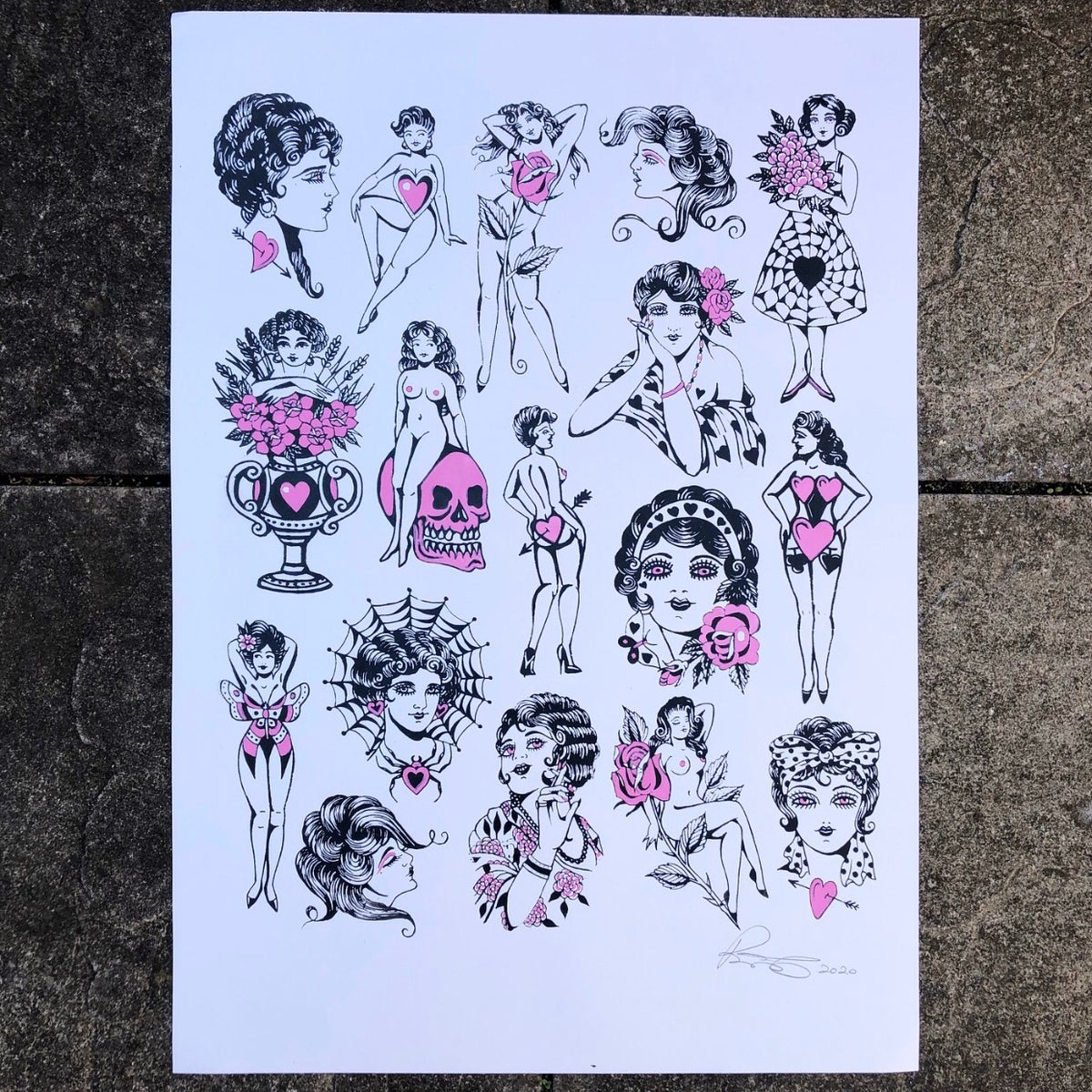 Image of 'Girls' hand coloured screen print A2