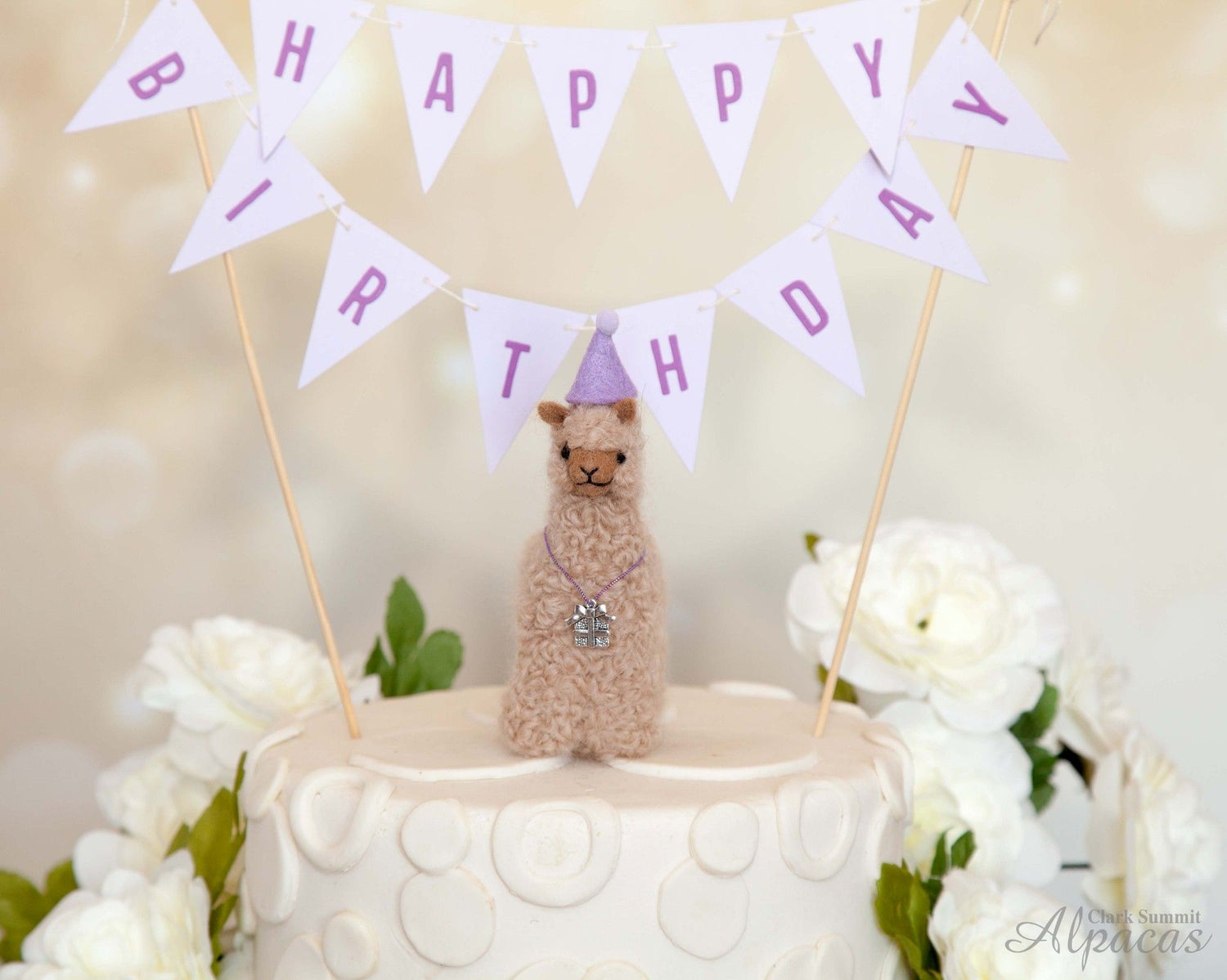 Alpaca Birthday - Unique Present for Llama Lovers - Customized Party Hat, Charms - Real Fiber