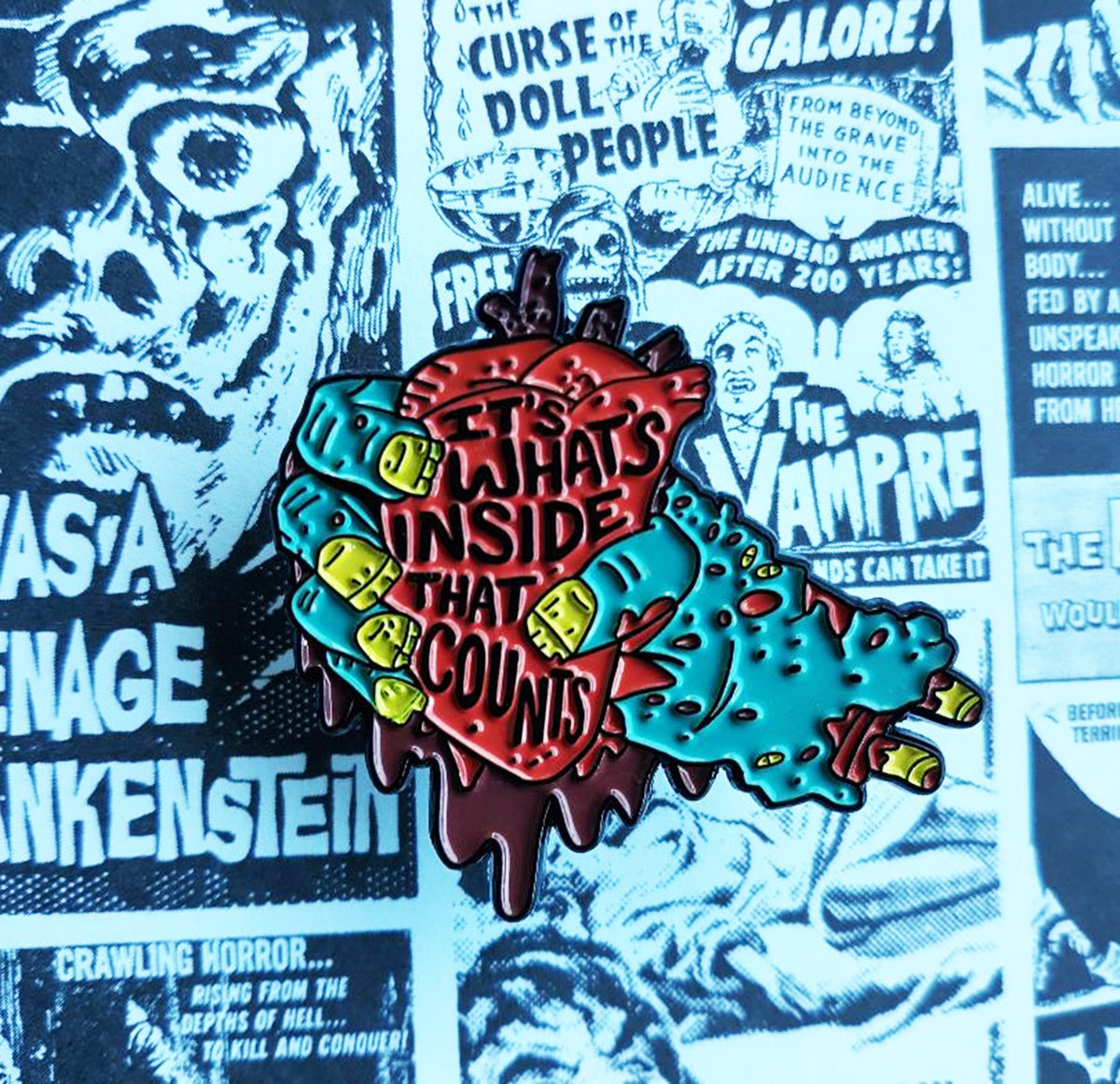 """It's What's Inside That Counts"" Zombie Heart 1.75"" Enamel Pin"