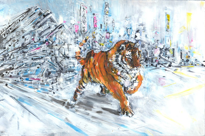 Image of Tiger in Snow Painting