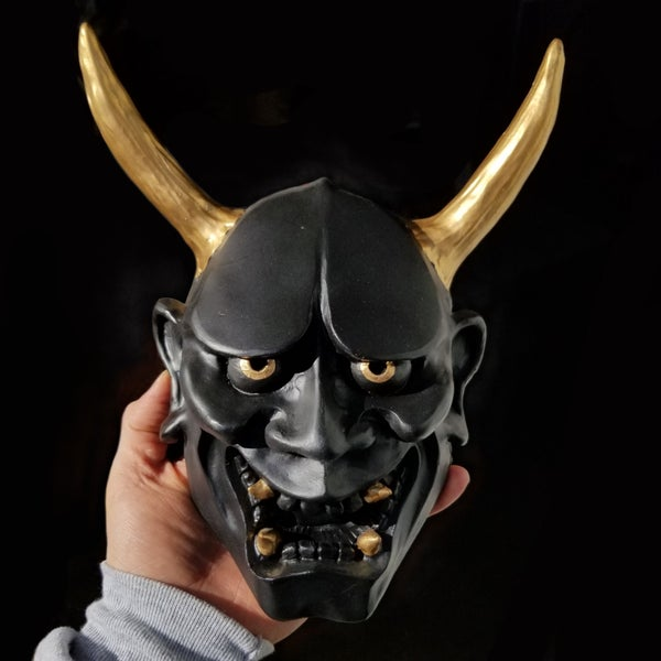 Image of Large Hand Painted Black and Gold Hannya