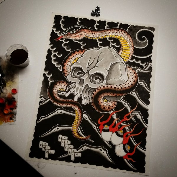 Image of Skull and Snake Painting