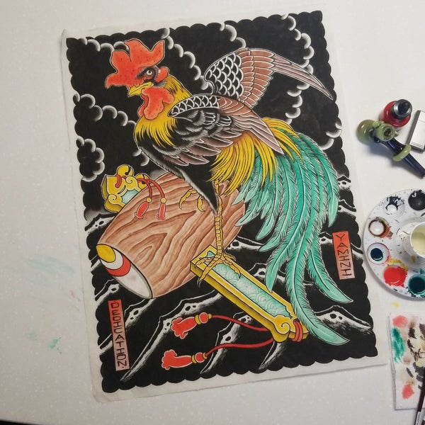 Image of Rooster and Mallet Painting