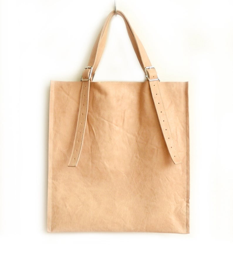 Image of Pale Nude Leather Square Bag, Vegtan Shoulderbag c