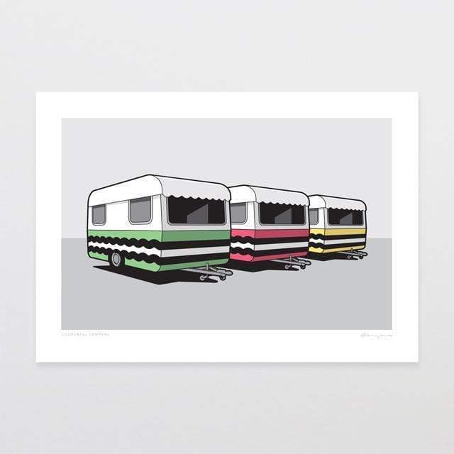 Glen Jones Colourful Campers Art Print