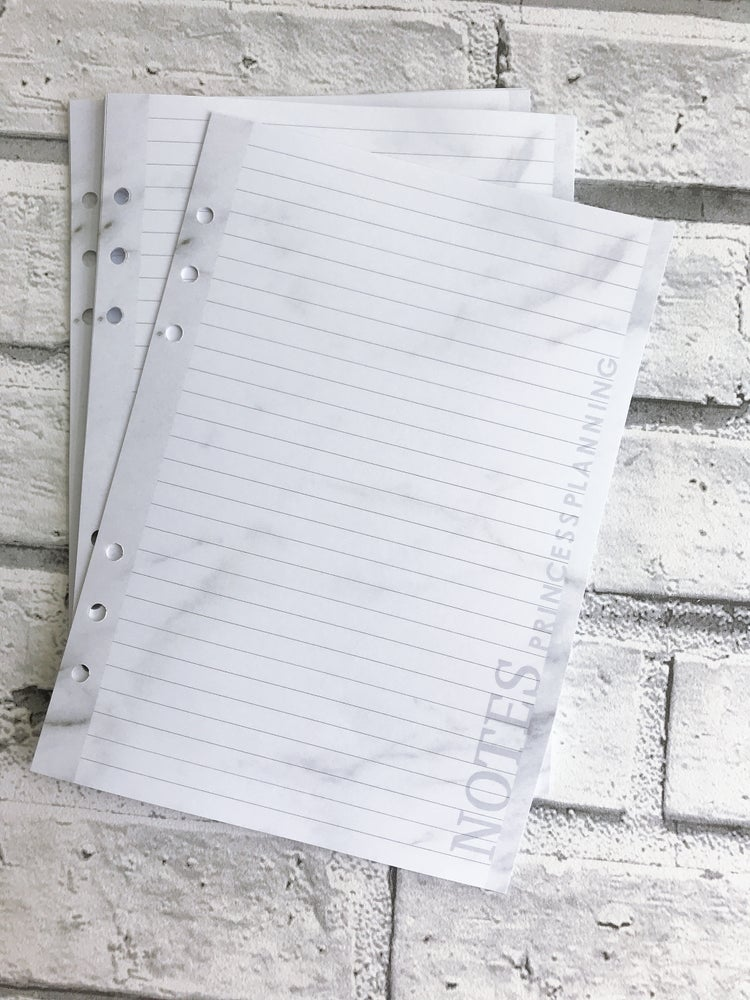 Image of A5 GREY MARBLE LINED NOTE PAPER ORGANISER INSERT