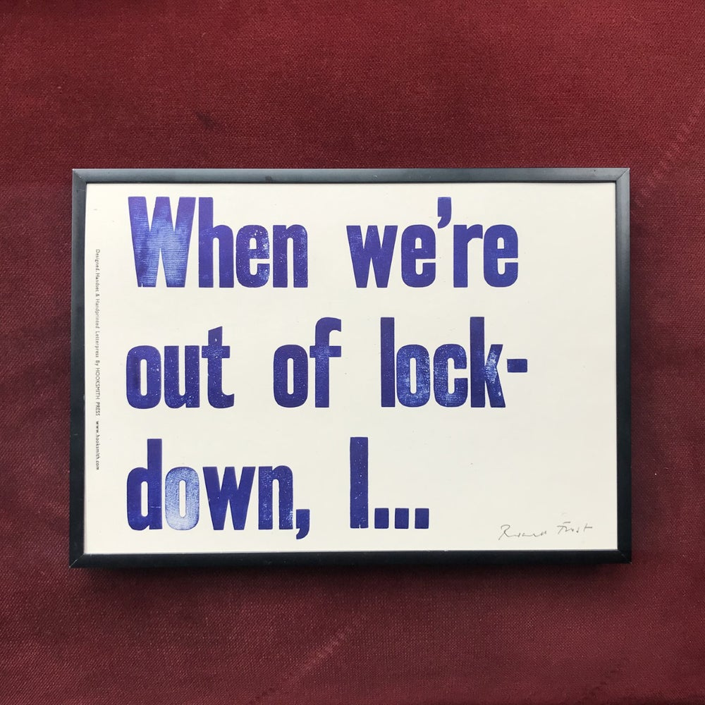 """Image of """"Out of lock-down"""" print by Hooksmith Press"""