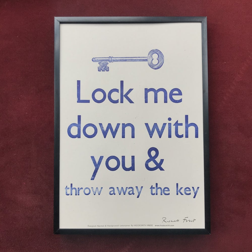 """Image of """"Lock me down with you"""" print by Hooksmith Press"""