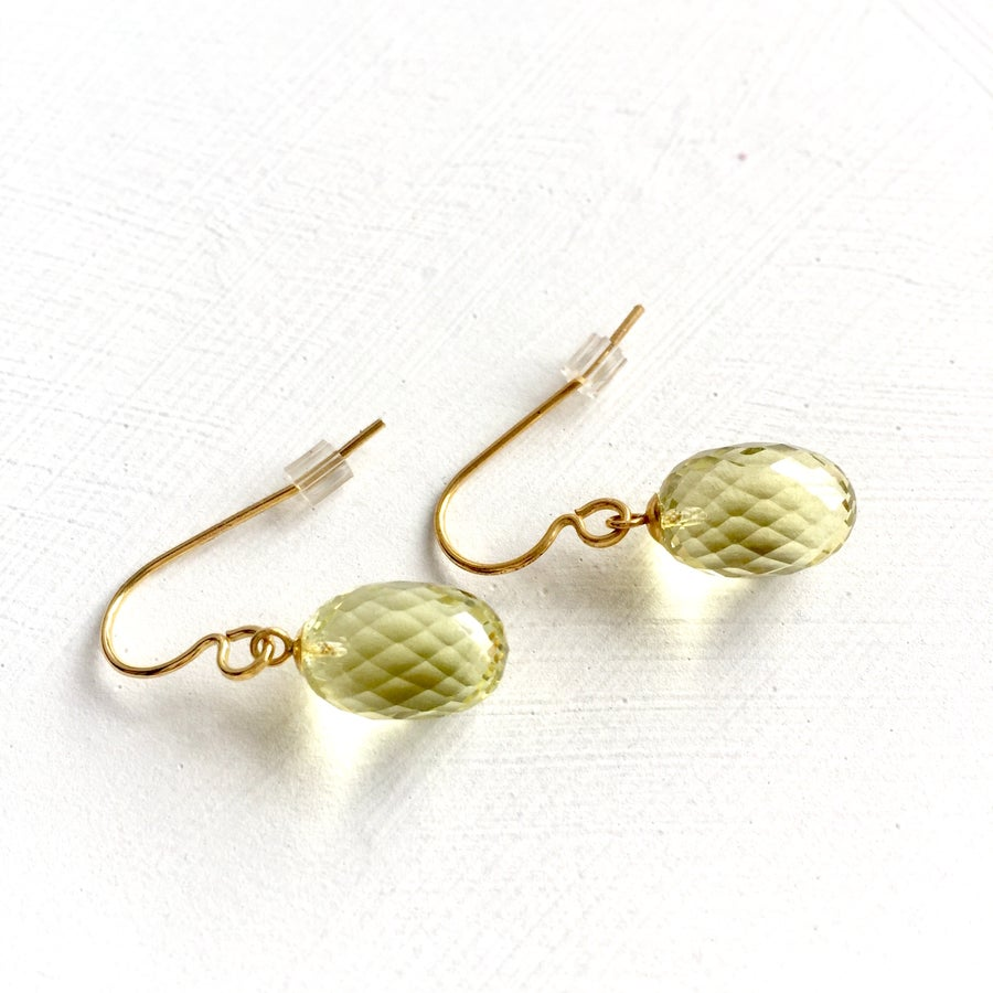 Image of Indian summer hook earrings- Lemon Quartz
