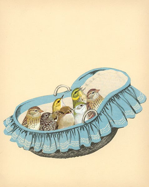 Image of Baby Birds. Limited edition collage print.