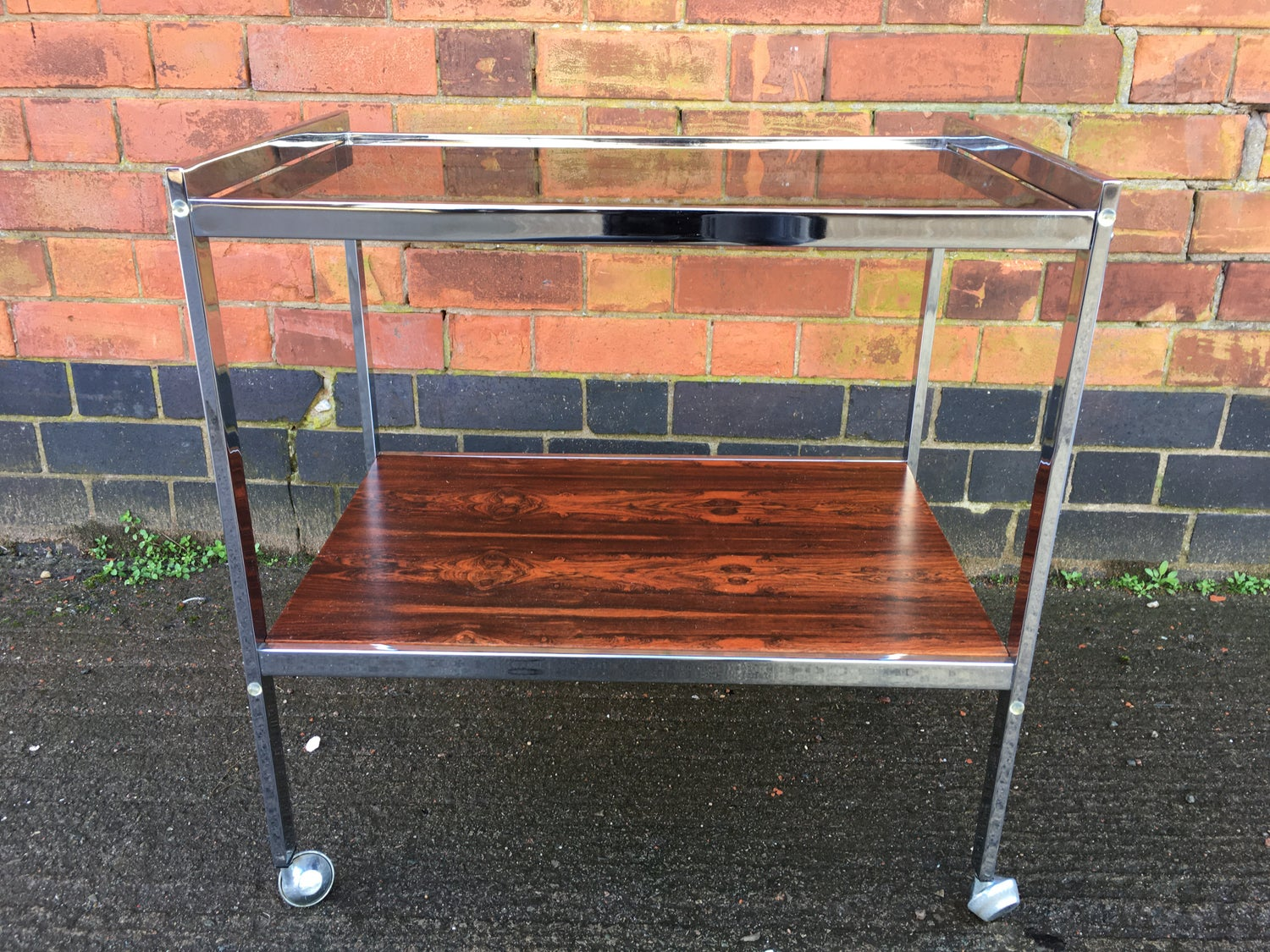 Howard miller chrome and rosewood drinks trolley