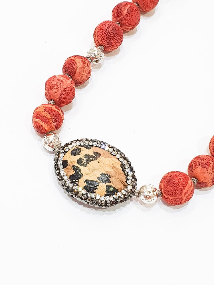 Image of Sponge Coral and Leopard Bead Necklace