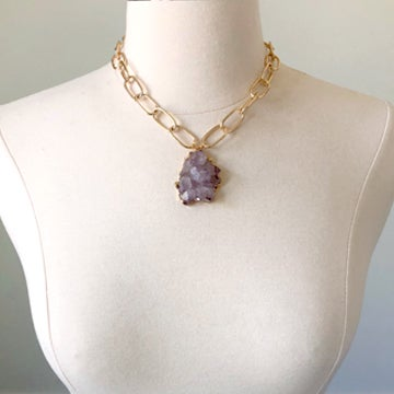 Image of Amethyst Flower Druzy Necklace