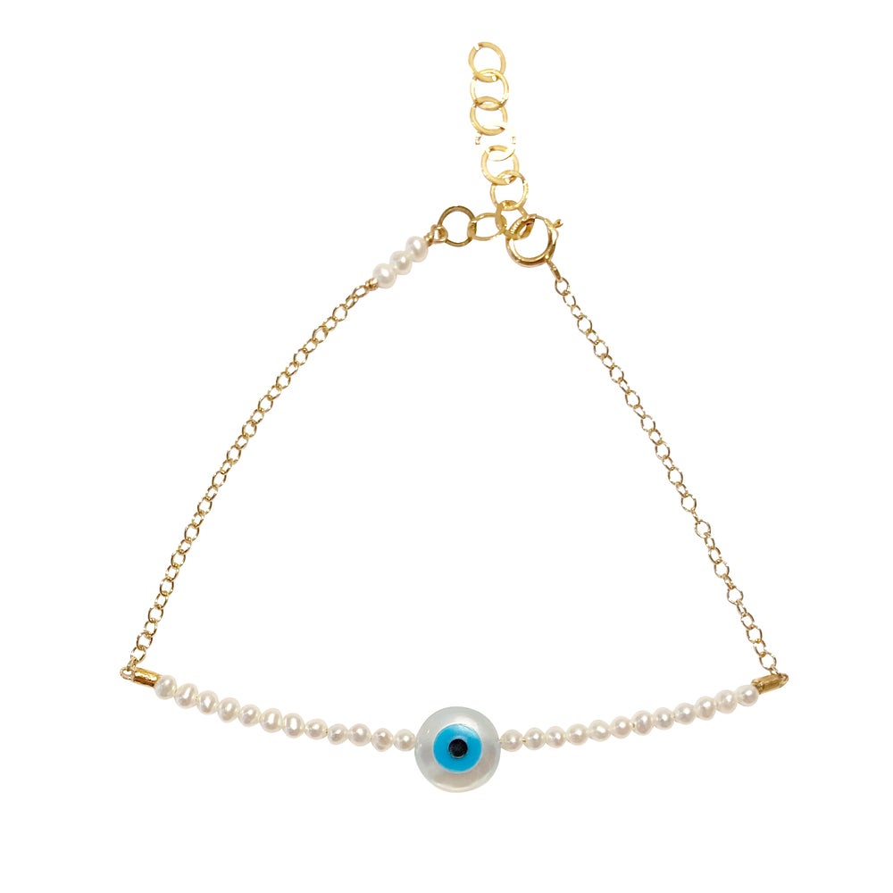 Image of Pearl Eye Bracelet Half Beaded with Chain