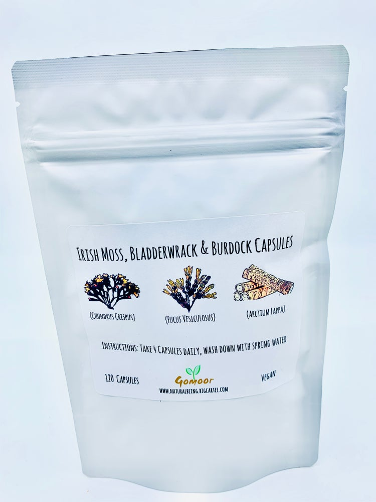 Image of Irish moss, Bladderwrack & Burdock EXTRACT capsules.