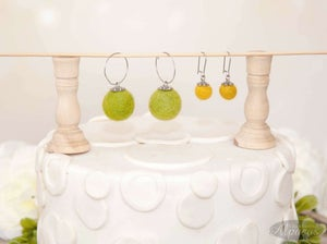 Felted Wool Bead Earrings - Hoop or Kidney Hook Ear Wire Stainless Steel - Felted Ball Jewelry