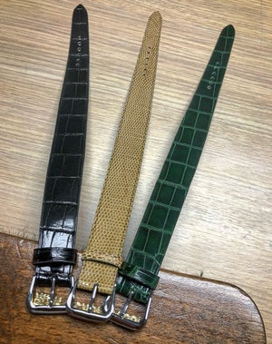 Image of Glazed Dark Green tapered one-piece watch strap