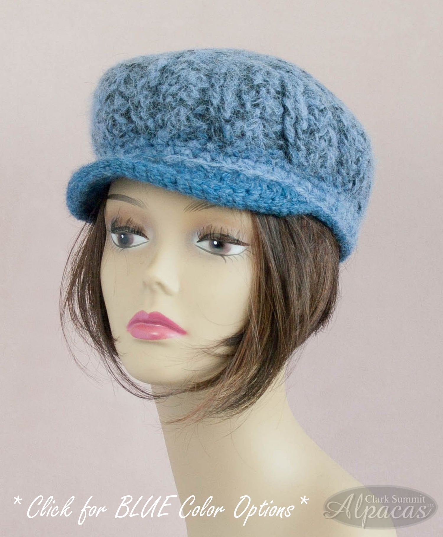 Alpaca Wool Visor Hat Blues - Llama Lovers Crocheted Hat - Semi Felted for Year Round Comfort