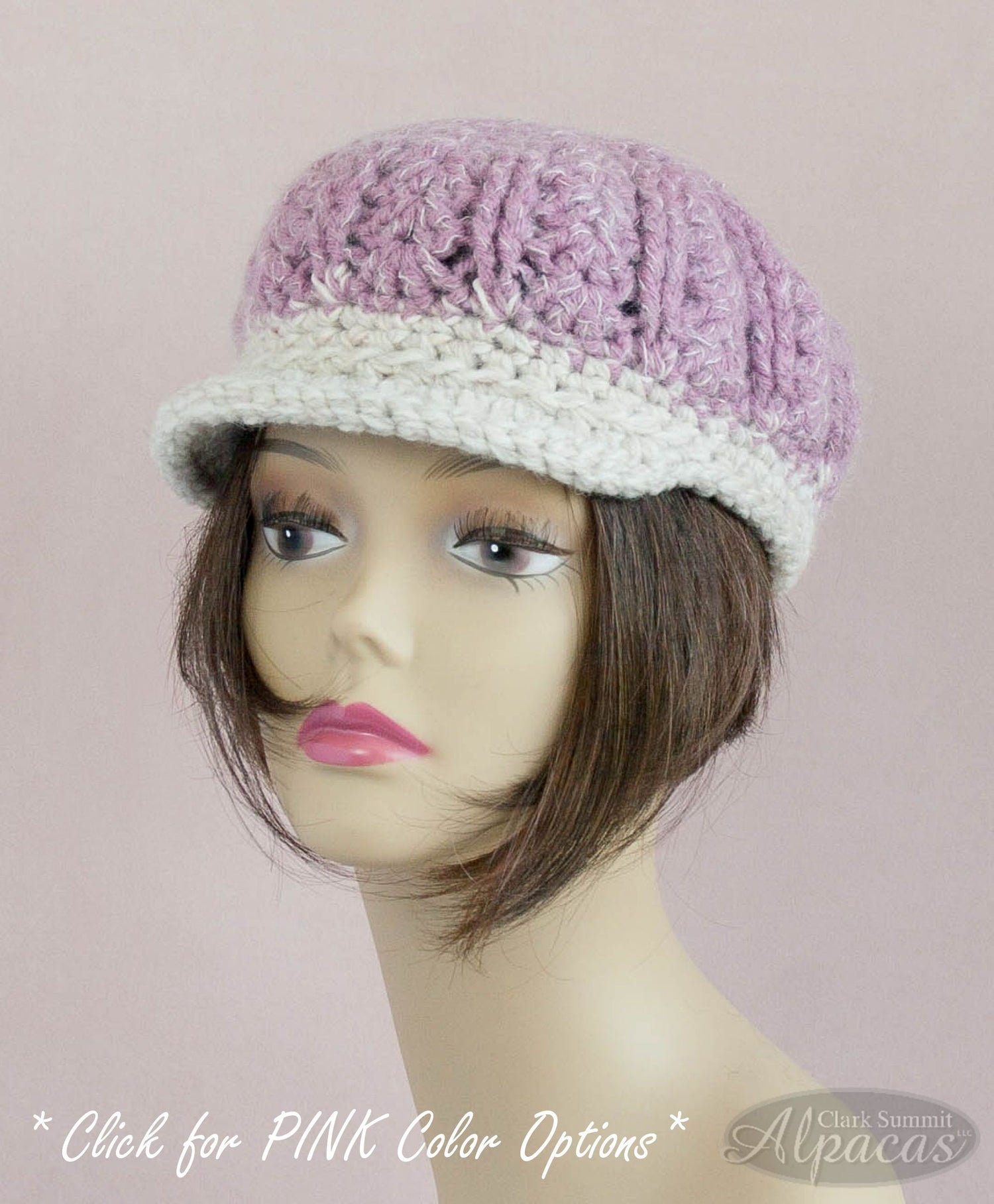 Alpaca Visor Hat Pinks - Year Round Comfort - Llama Lovers Wool Blend - Hand Crocheted Semi Felted