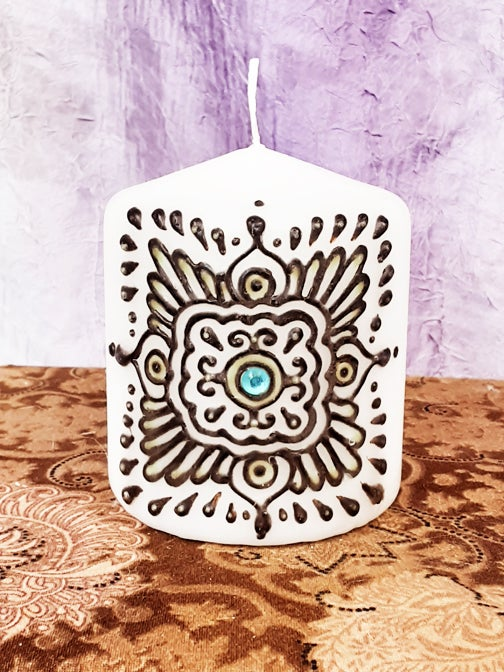 Image of 3 x 3 Gem Mandala Henna Candle