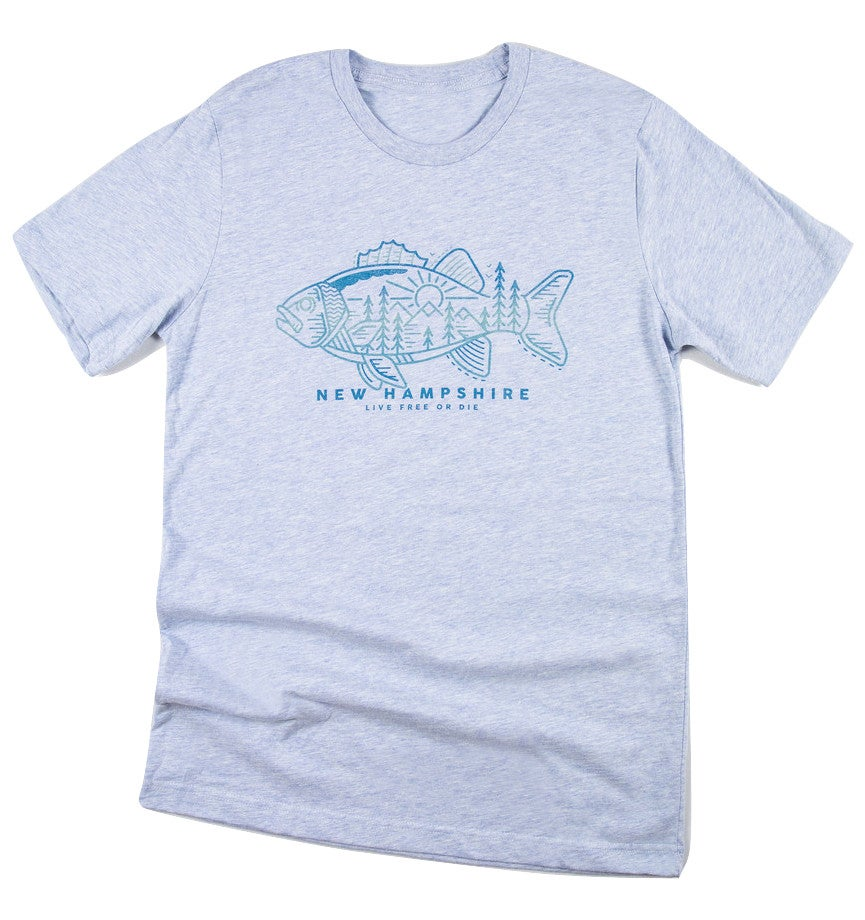 Image of Tribal Fish T-shirt- Heather Blue