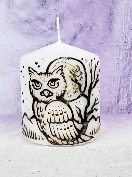Image of 3 x 3 Owl Henna Candle
