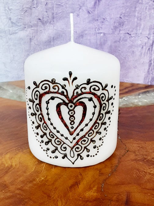 Image of 3 x 3 Heart Henna Candle