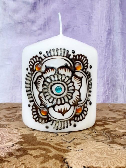 Image of 3 x 3 Orange & Blue Mandala  Henna Candle