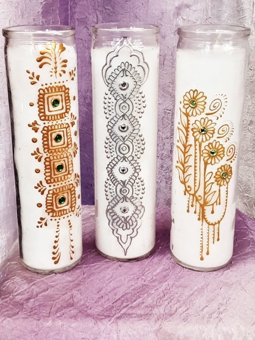 Image of Painted Glass Jar Candles Set
