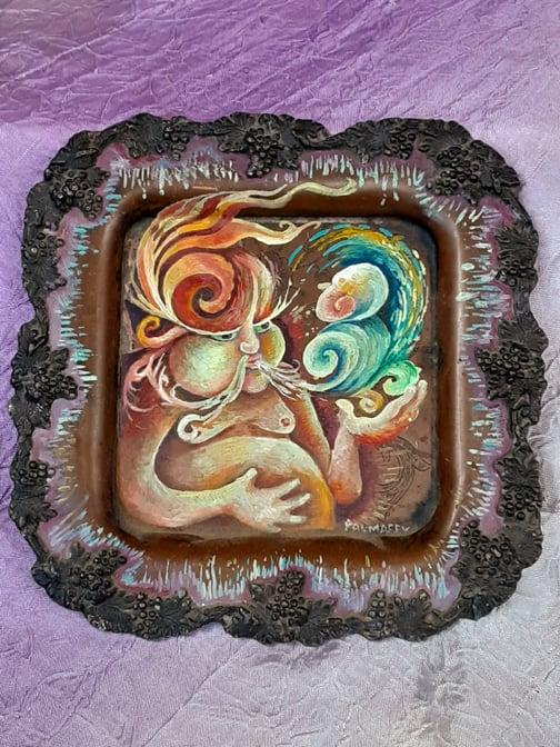 Image of Wine Geenie Tray Oil Painting
