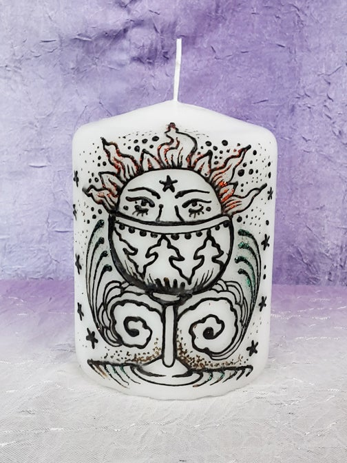 Image of 3 x 4 Ace of Cups Henna Candle