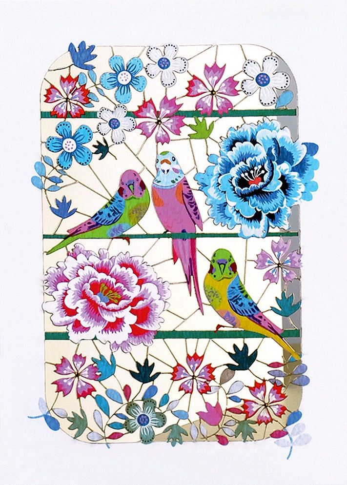 Image of Budgie Paper Cut Card