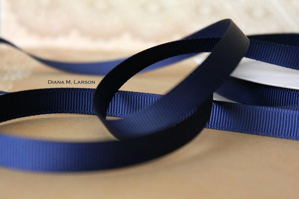 Image of Navy grosgrain ribbon