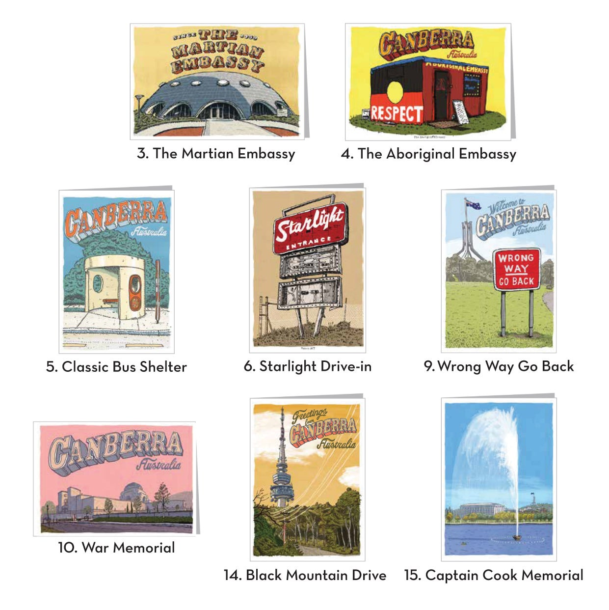 Image of Canberra Greeting Cards six pack