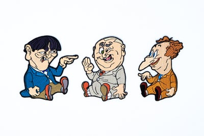 Image of The Three Stooges - Cartoon Embroidered Patch Set