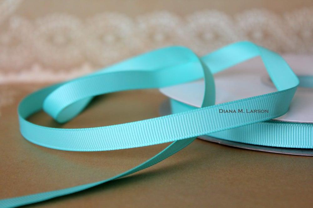 Image of Aqua grosgrain ribbon