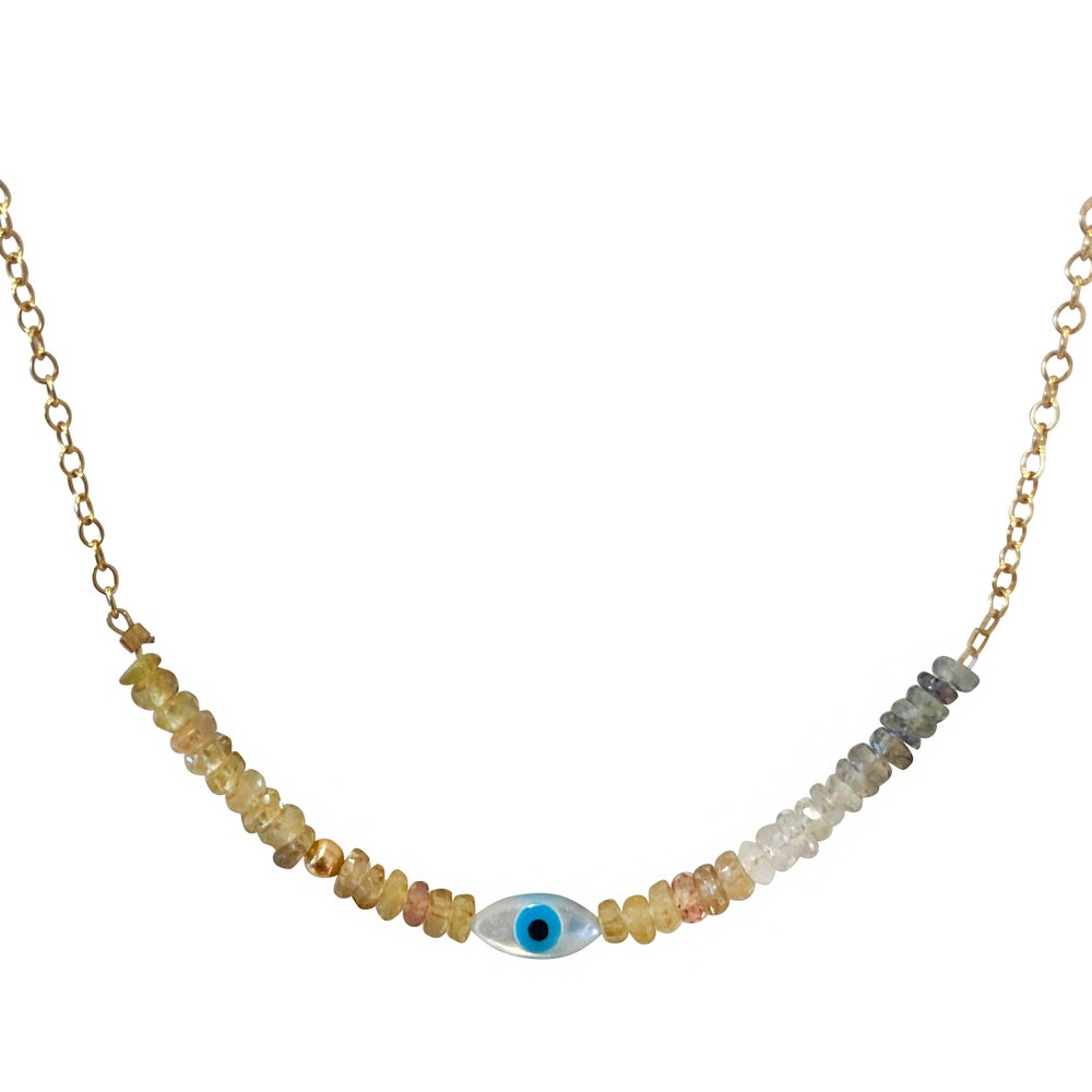 Image of Eye and Gemstone Gold Filled Necklace