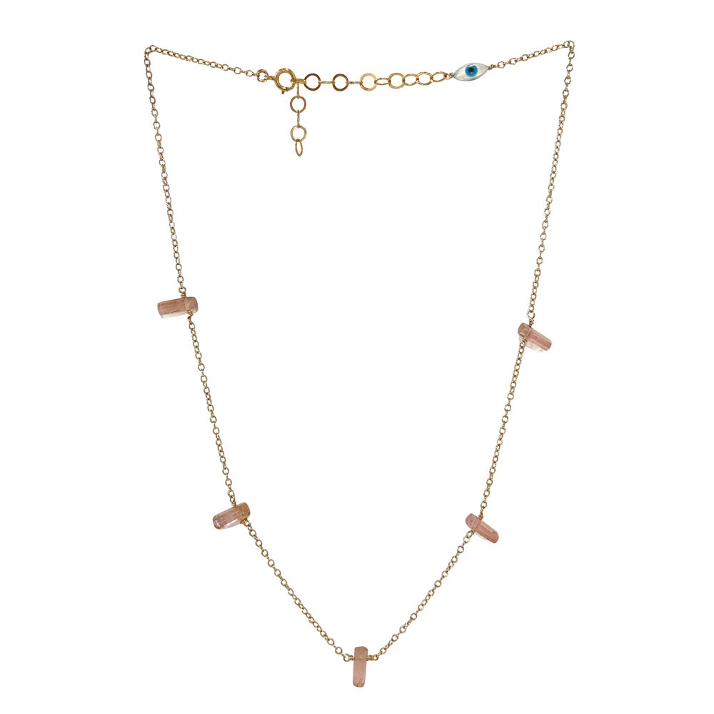 Image of Gold Filled Pink Tourmaline Cluster Necklace