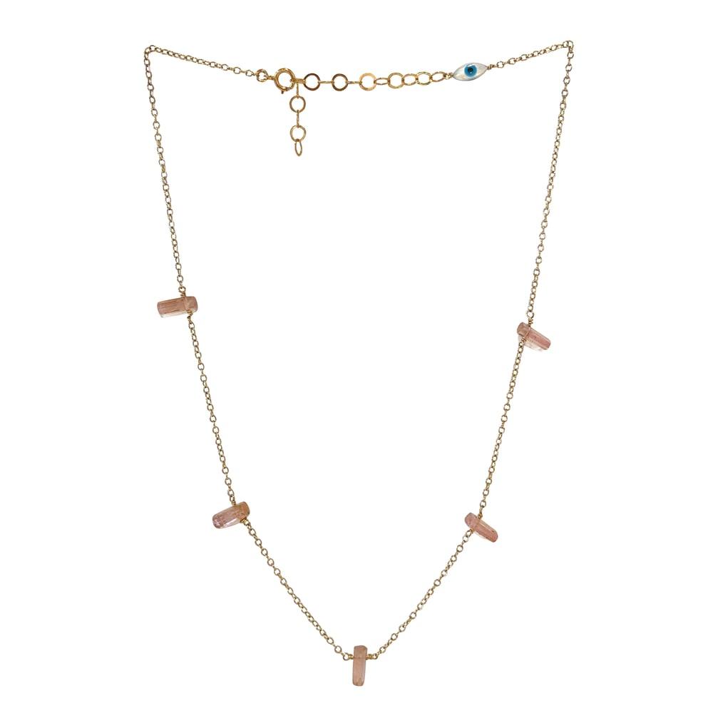 Image of Gold Filled Pink Tourmaline Station Necklace