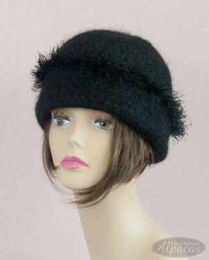 Alpaca Hats in Black - Wide Brim - Wool Blend - Crocheted and Semi Felted for Warmth and Comfort